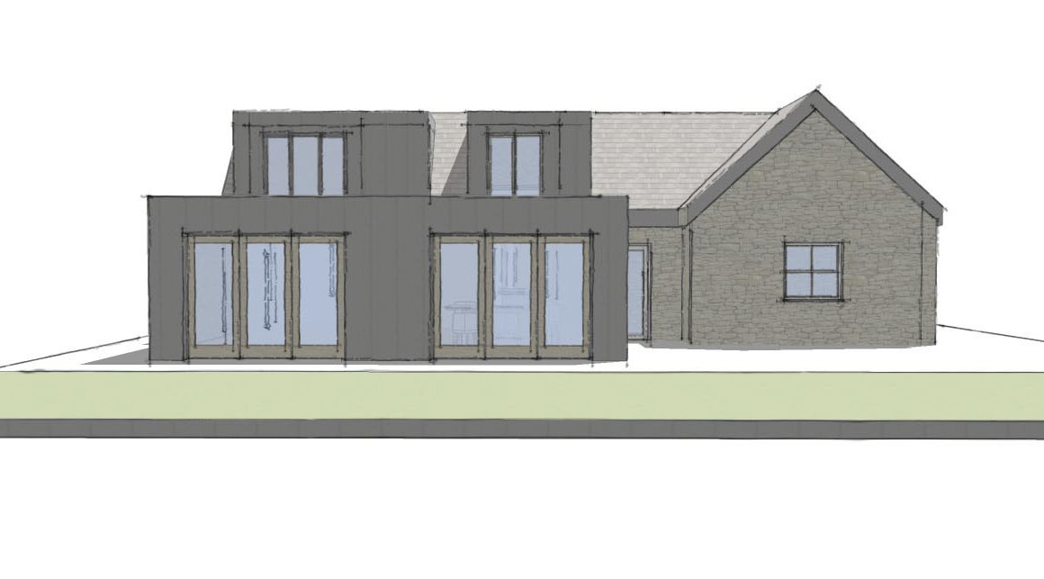 Extension in Wingerworth Derbyshire. Architects sketches and 3d modelling for an open plan extension and dormer. Kitchen dining and livingarea design and remodel