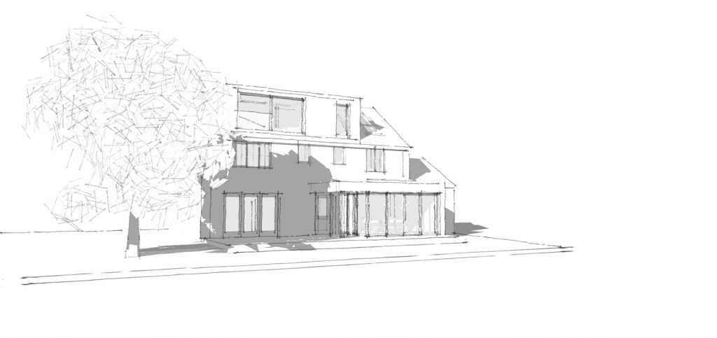 Sketch Images for the single story extension and dormer window. Architects sketch design for scheme in Clay cross, chesterfield. Planning permission.