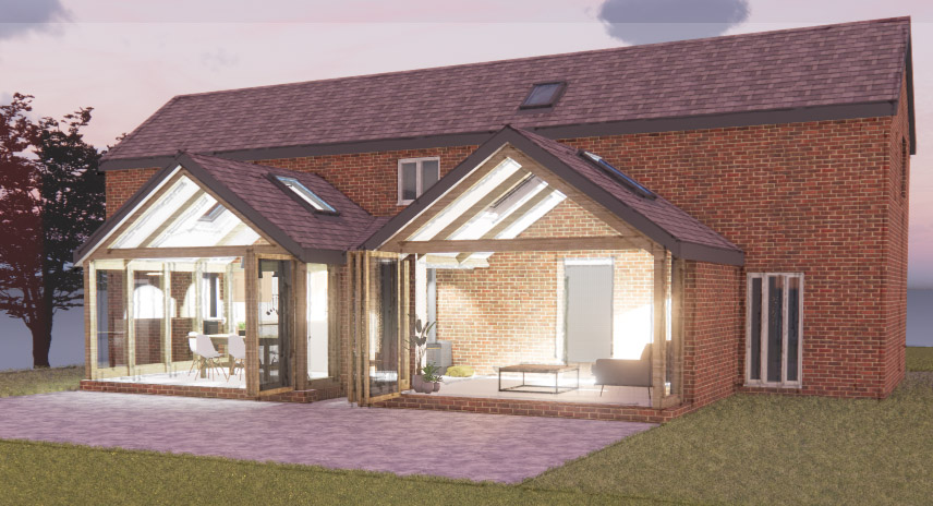 extension, matlock architect, gazing, bifolds, timber frame, barn