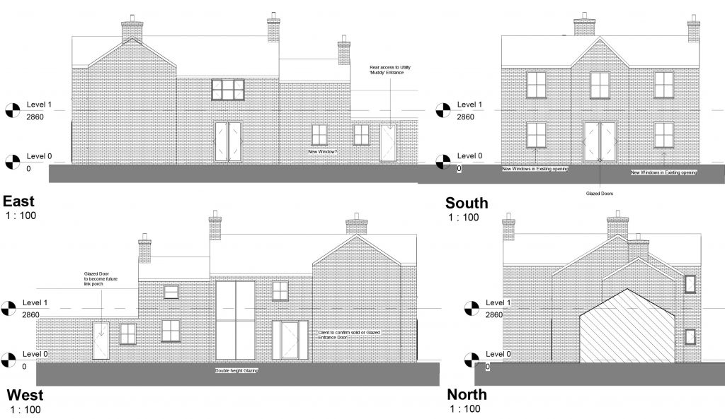 Architectural elevations for farmhouse conversion and remodel in Derbyshire