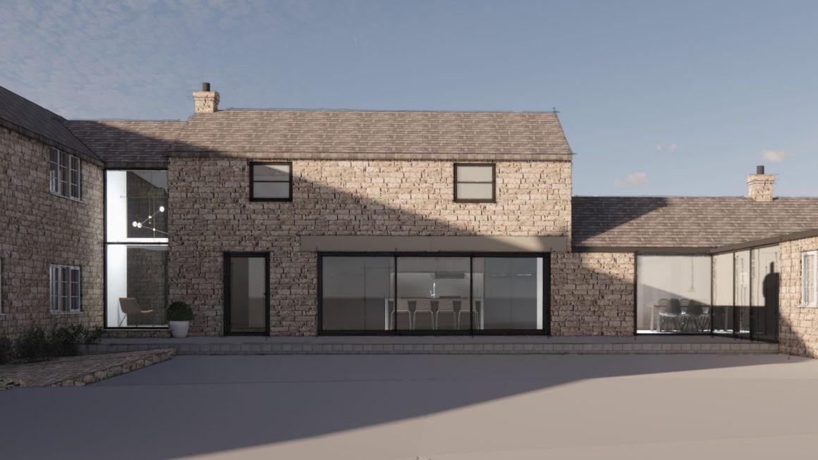 barn conversion, extension, design, architect, stone barn, picture windows, interiors
